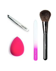 Combideal The Tweezer Slant Silver + The Nailfile Small + The Make-Up Blender Pink + The Brush Poederkwast